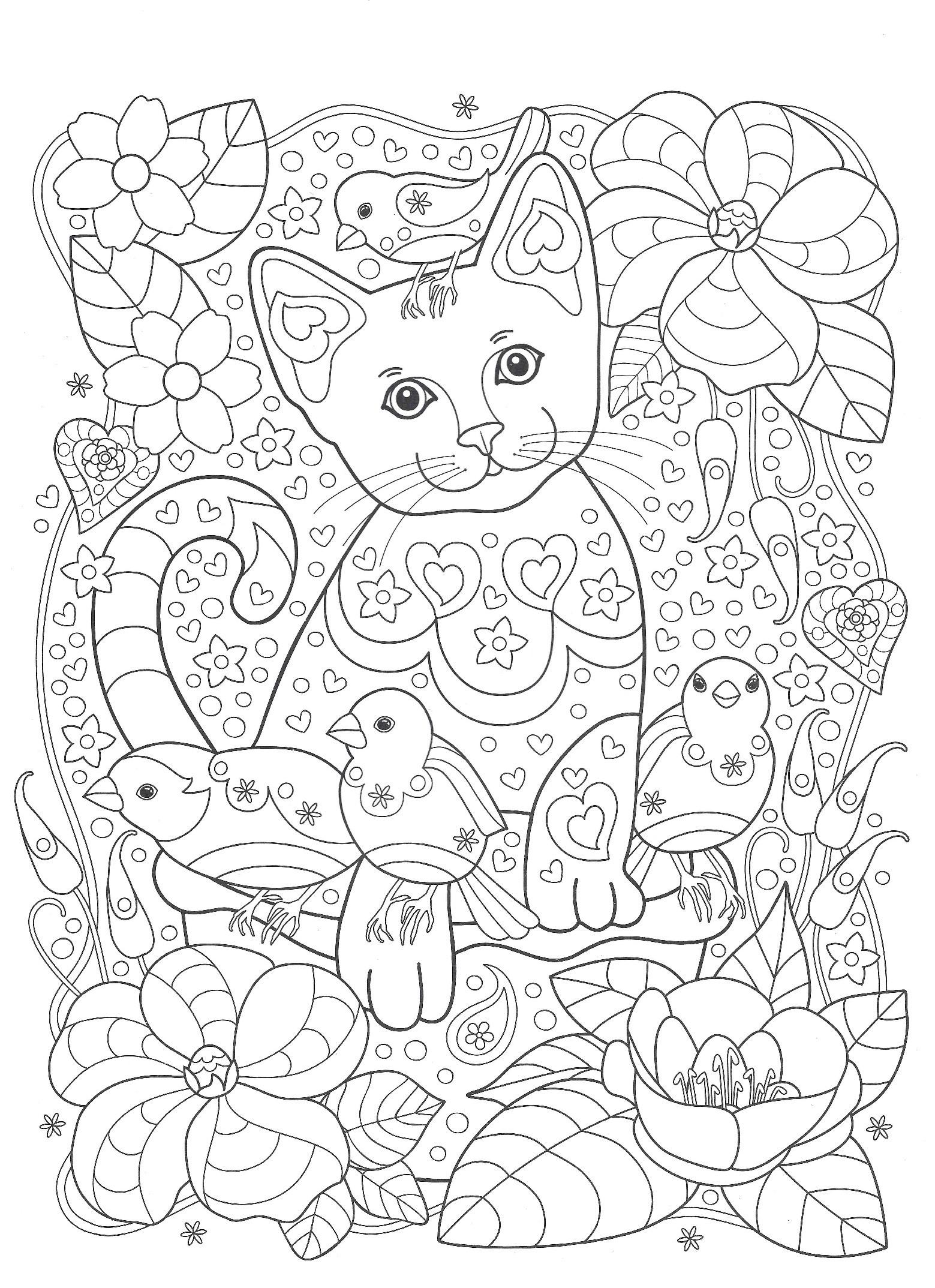 Кот и воробьи в саду