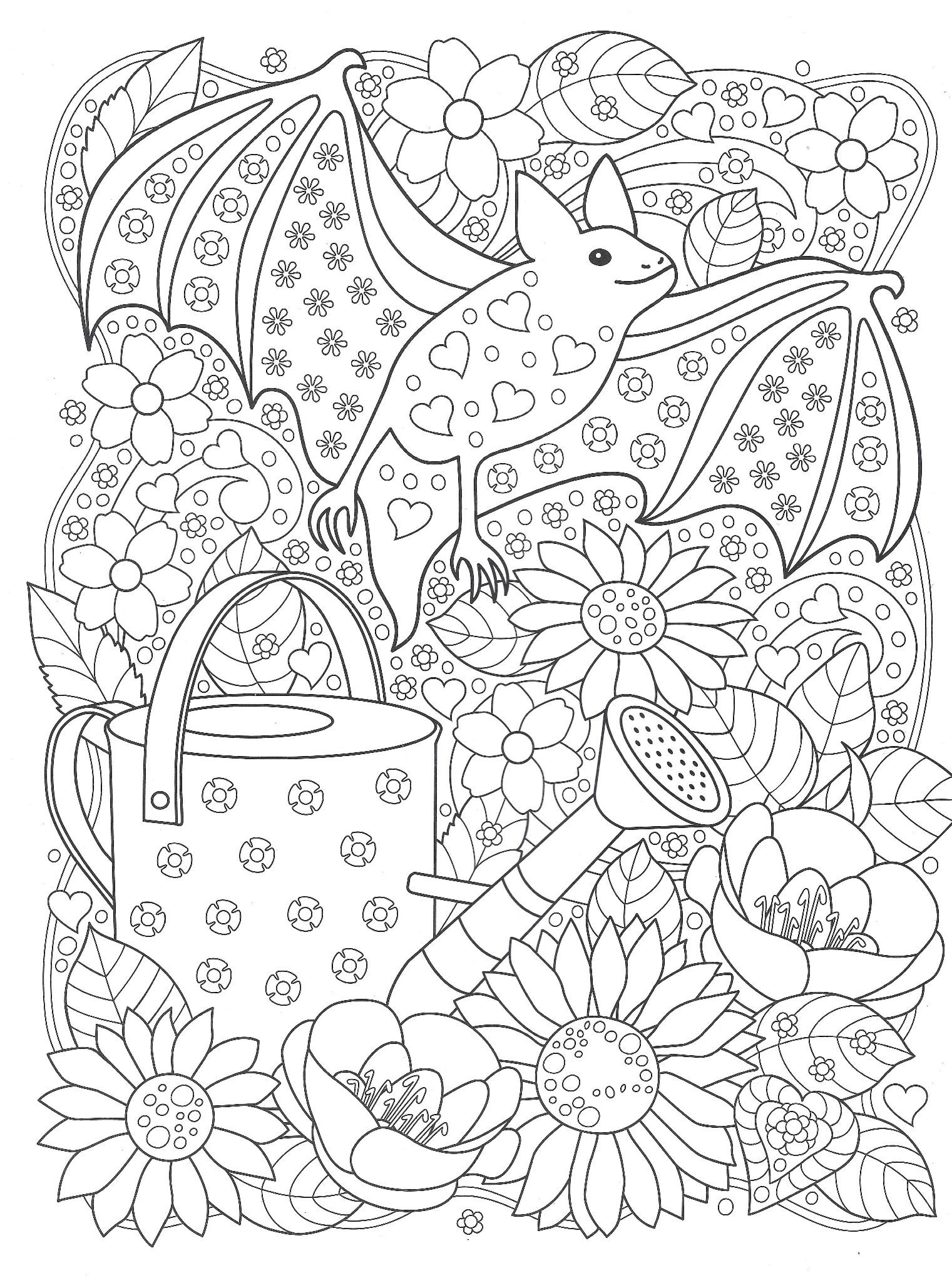 Летучая мышь в саду - Животные - Раскраски антистресс