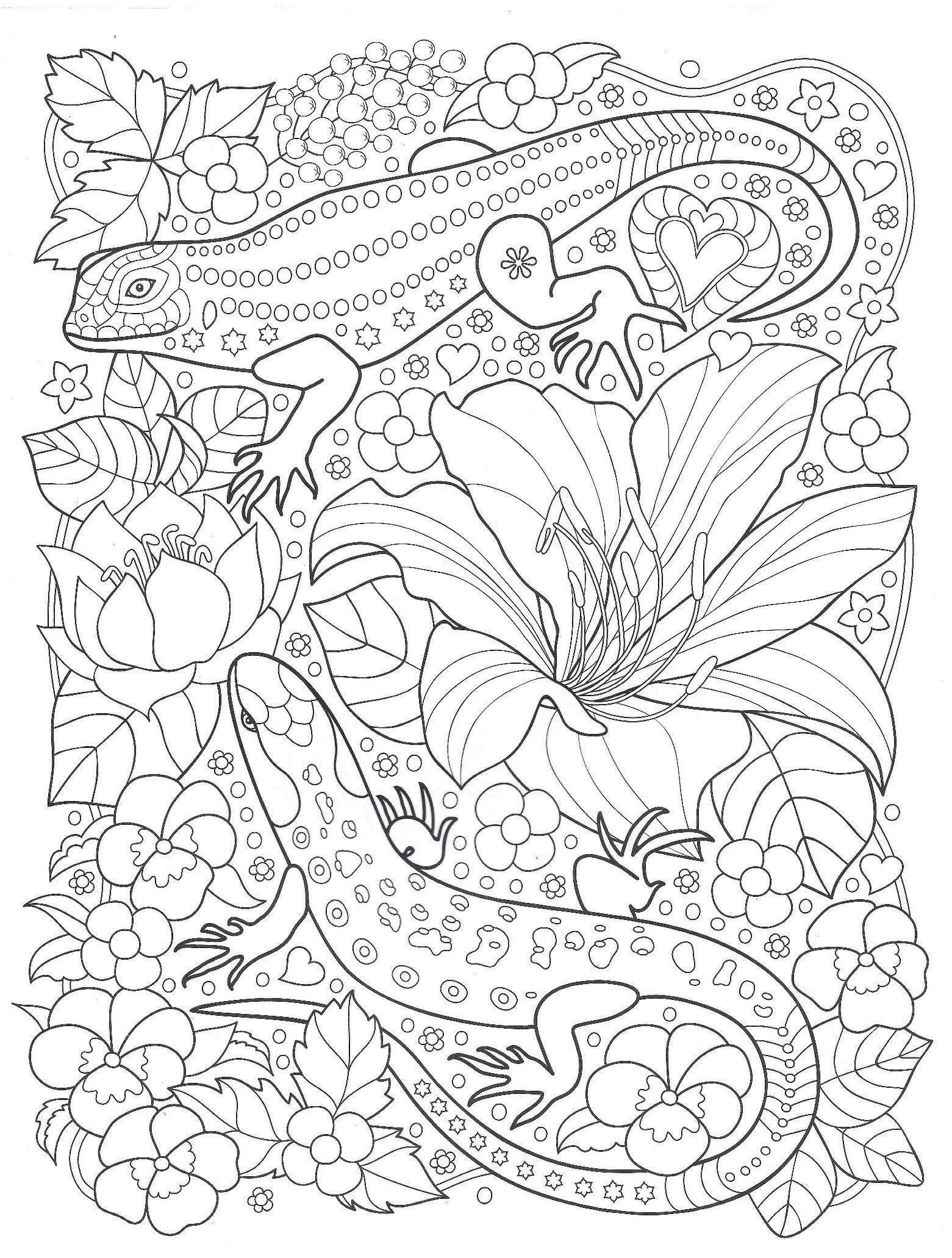 Ящерицы в саду с цветами