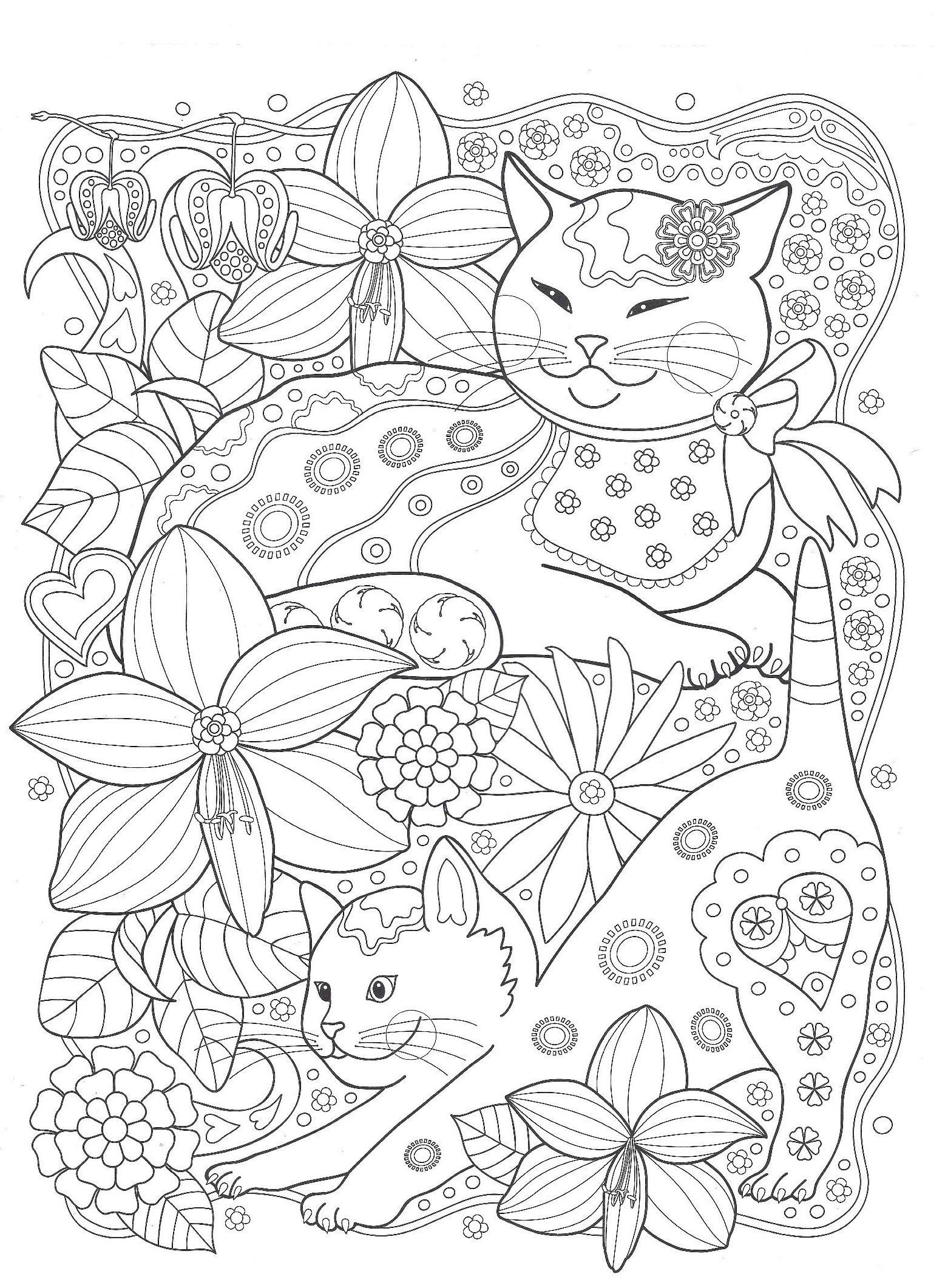 Кошки с цветами