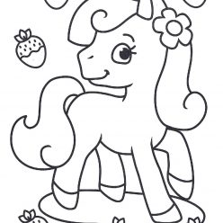 Раскраски антистресс «Пони и клубника» для девочек, чтобы распечатать и раскрасить онлайн