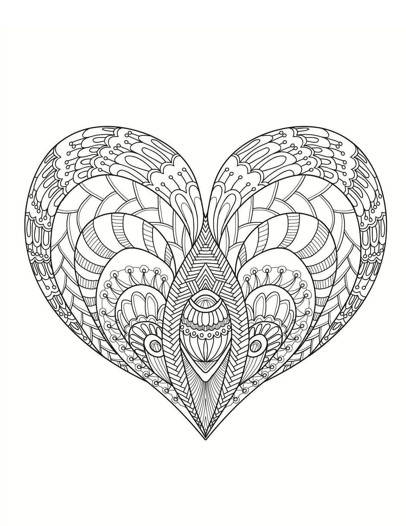 сердечко с мелким рисунком сердца раскраски антистресс
