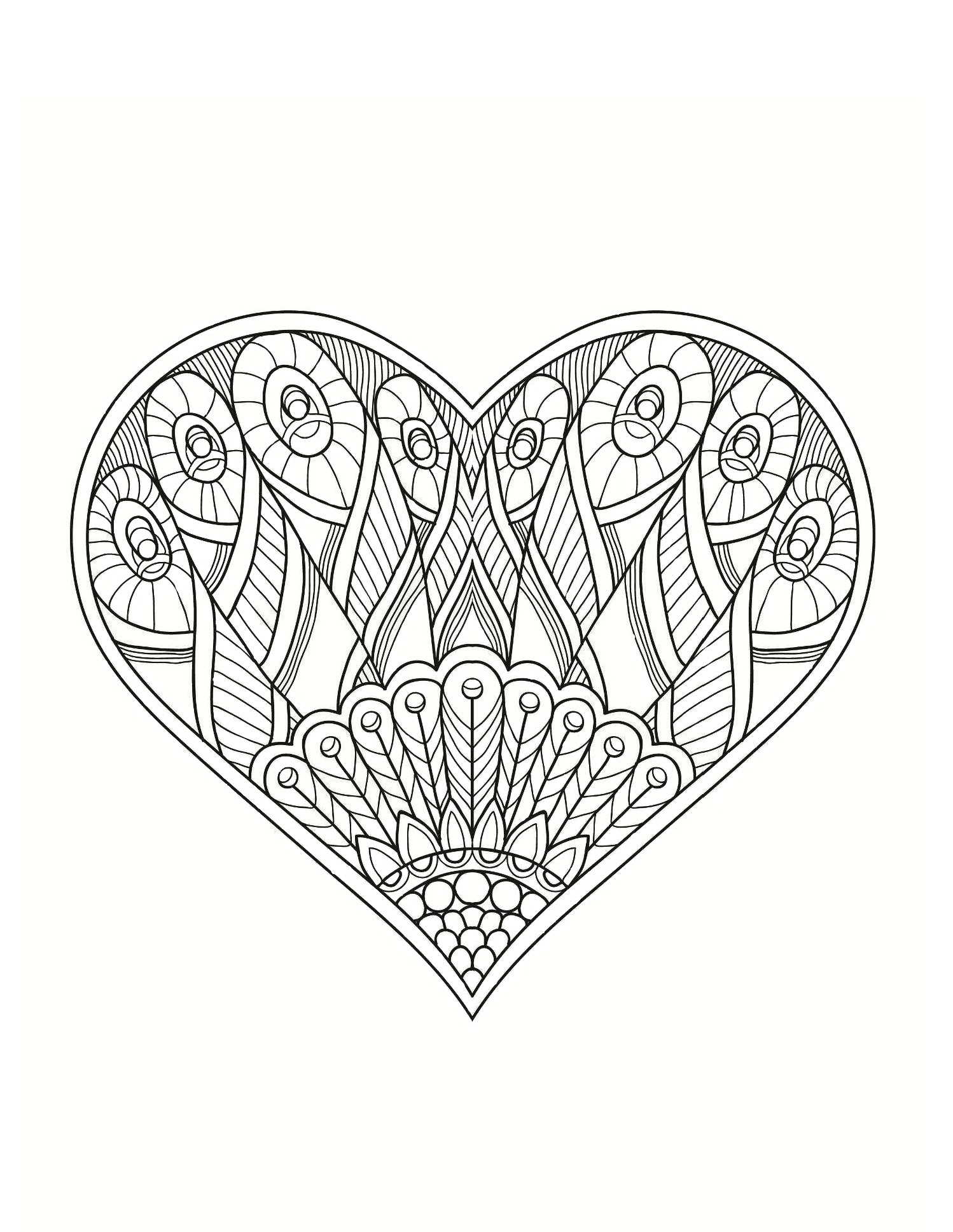 сердце с рисунком сердца раскраски антистресс