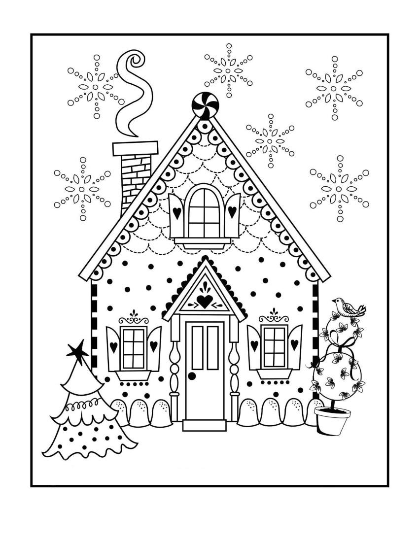 Новогодний дом - Новый год - Раскраски антистресс
