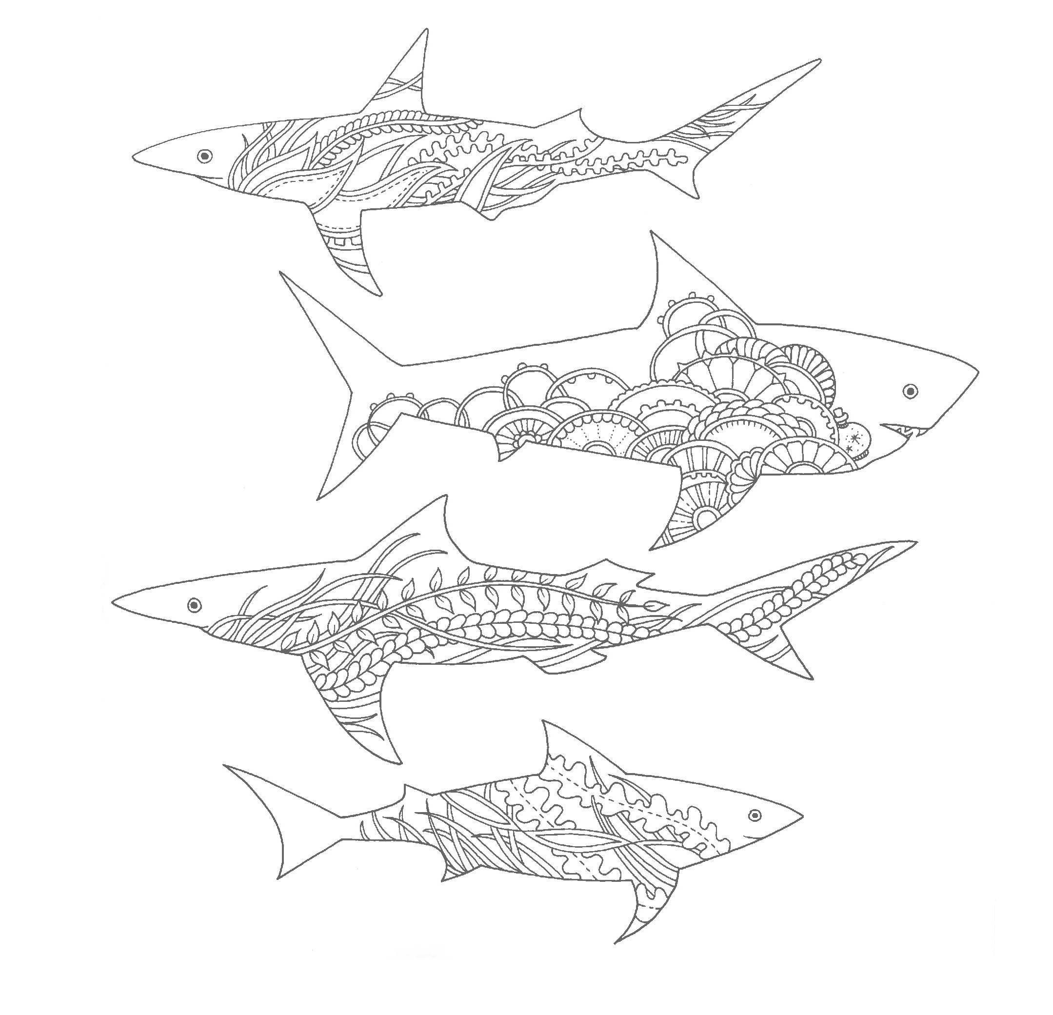 Акулы с морским орнаментом