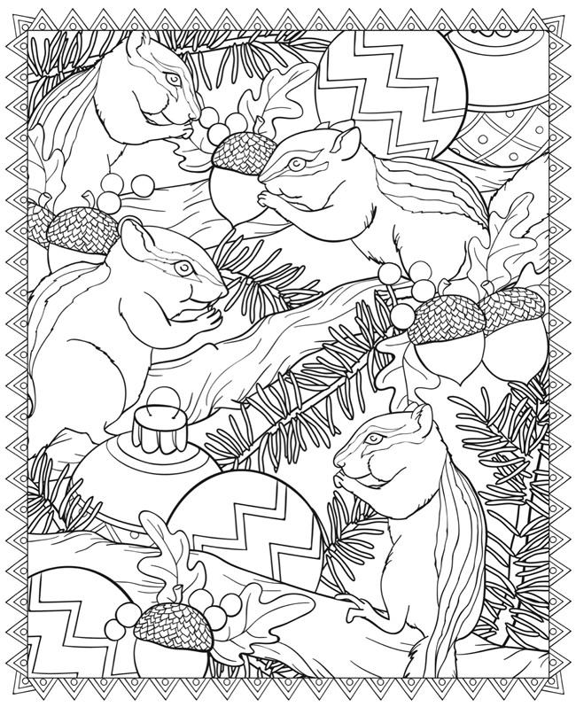 Белки с орехами и новогодними шарами