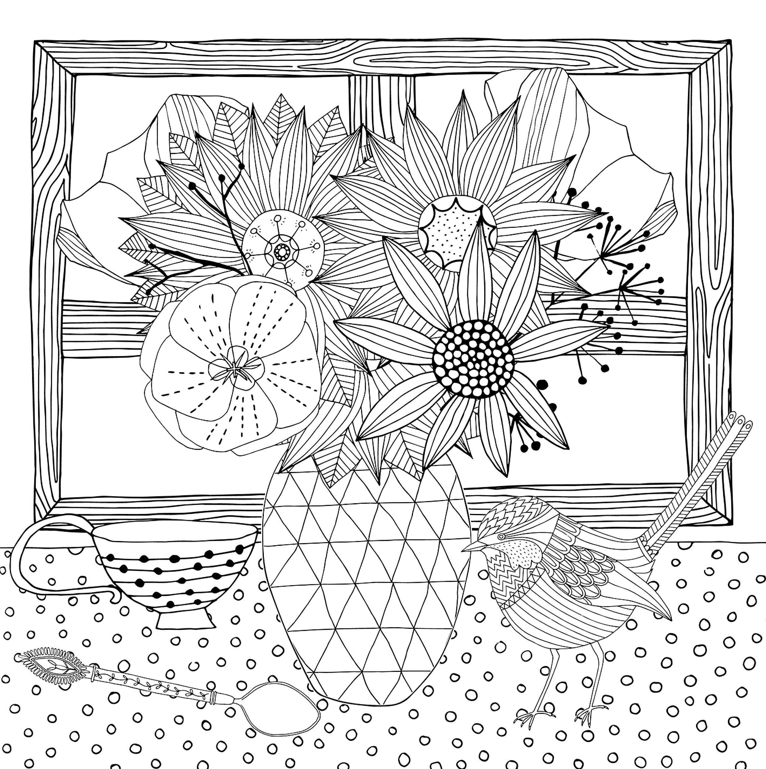 ваза с цветами на столе цветы раскраски антистресс
