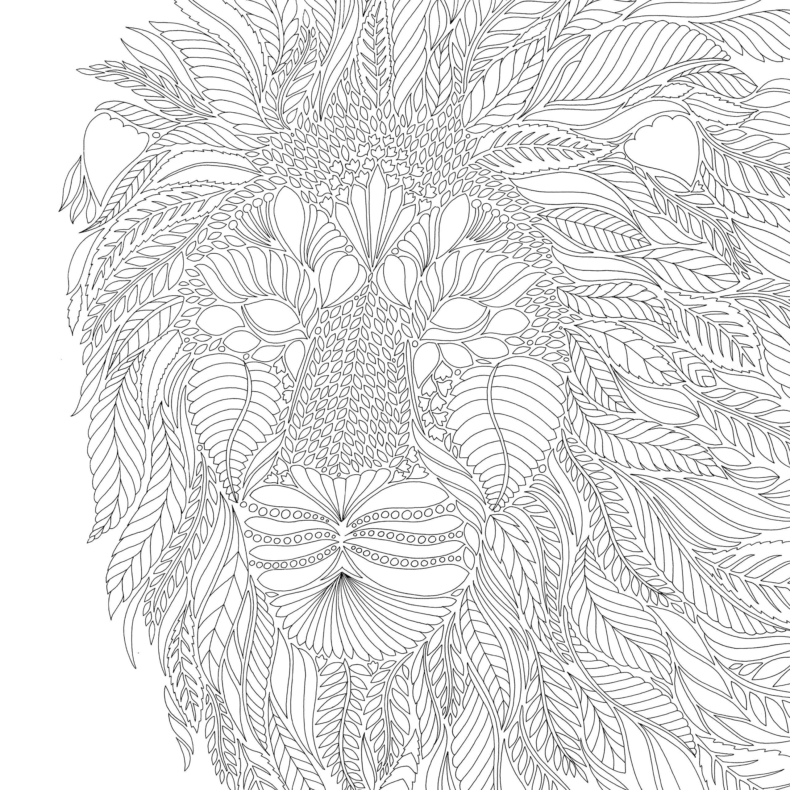 Голова льва из листьев