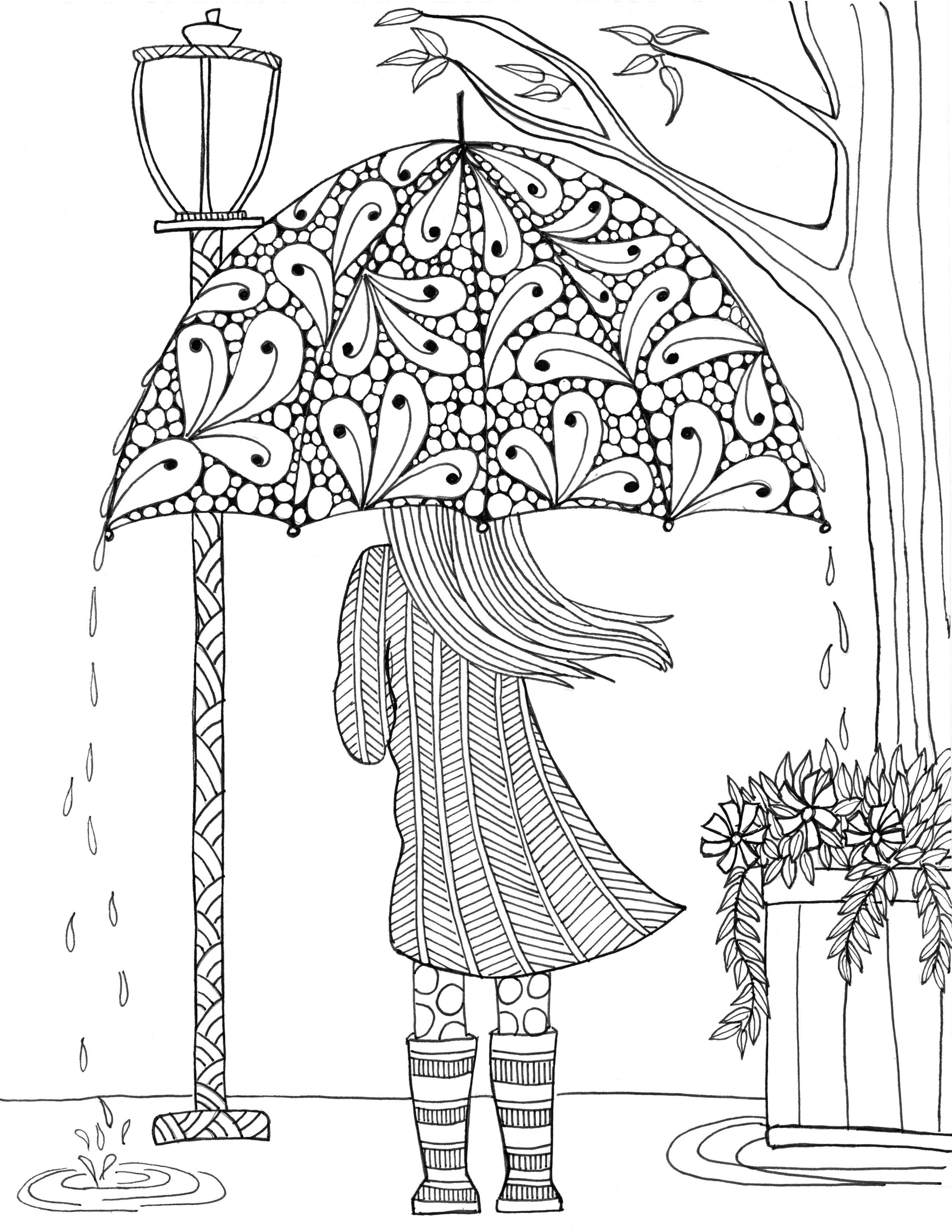 Девочка с зонтом осень - Люди и лица - Раскраски антистресс