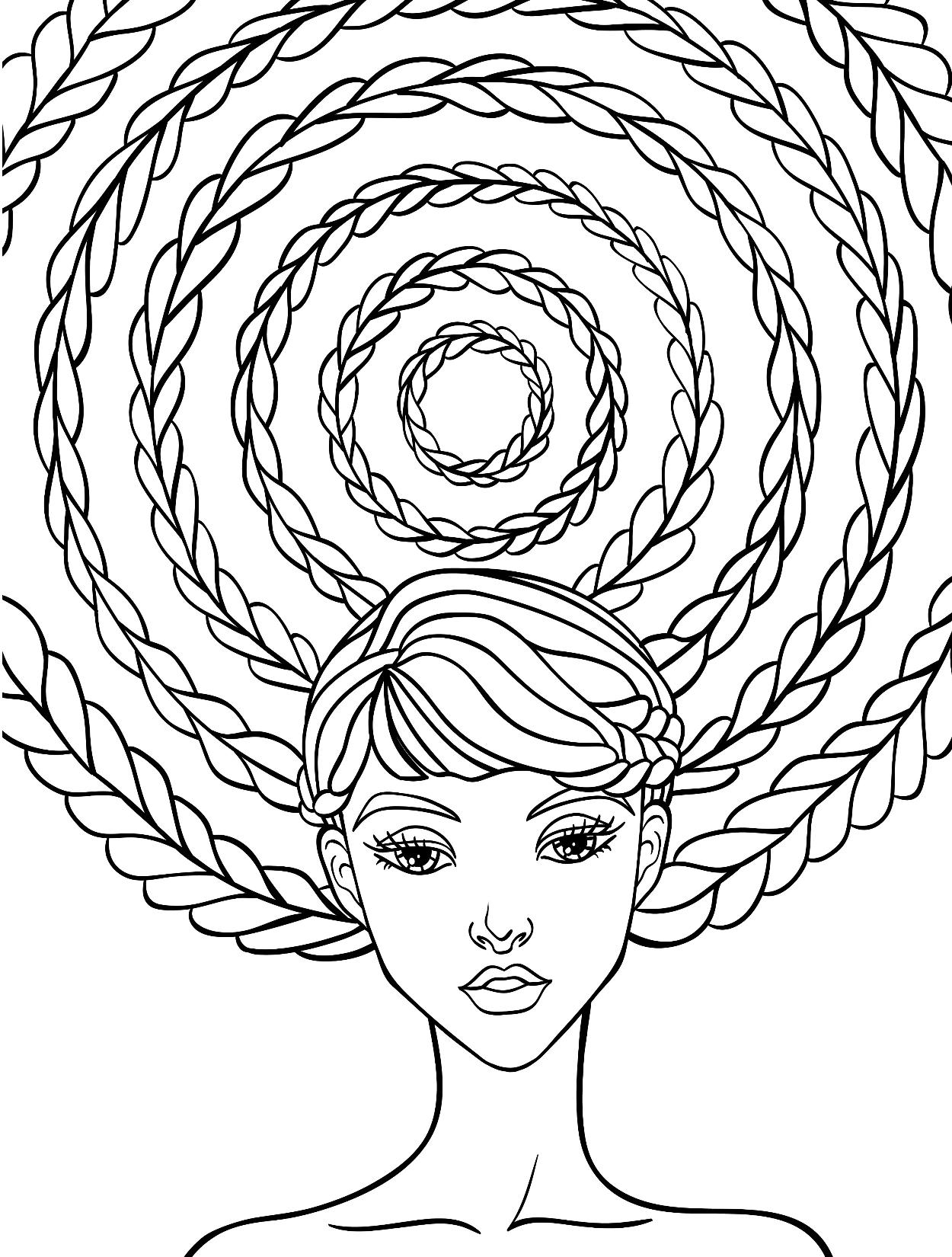 девушка с косой люди и лица раскраски антистресс