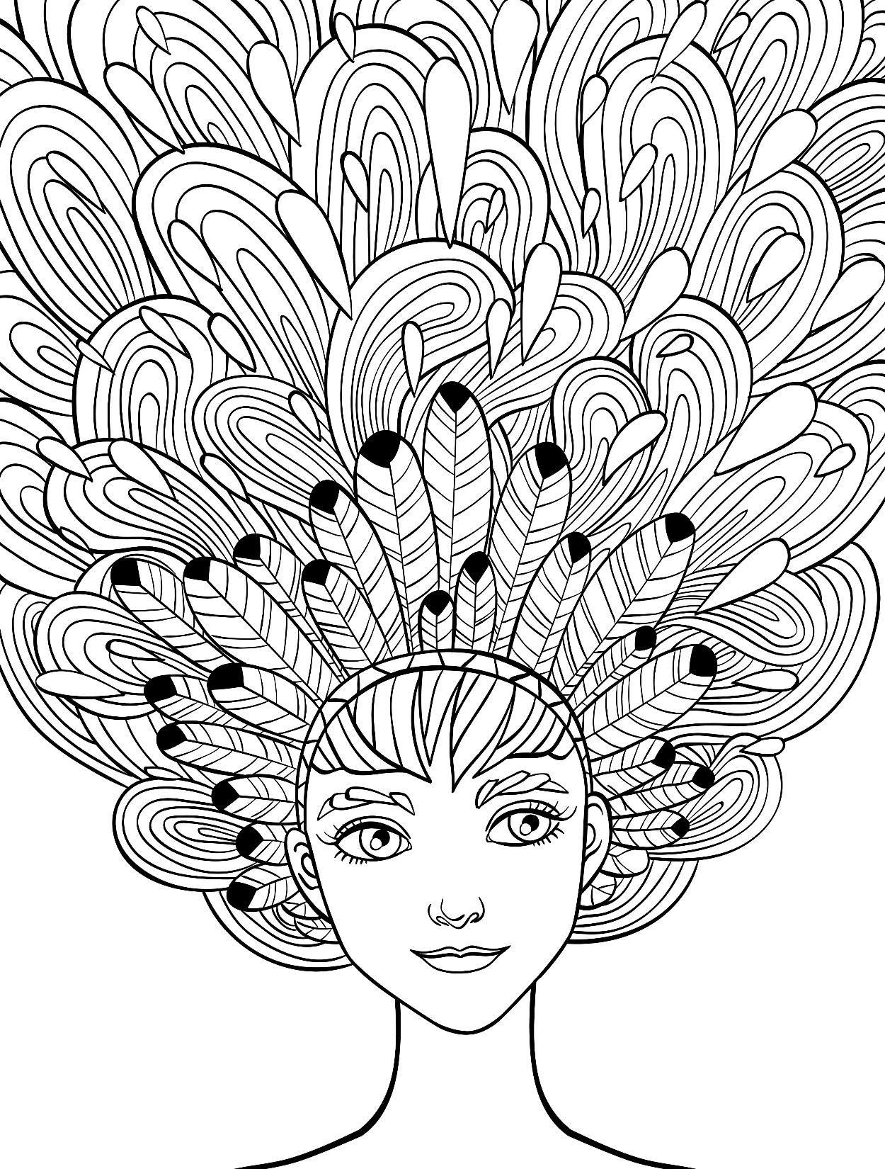 девушка с перьями в волосах люди и лица раскраски антистресс
