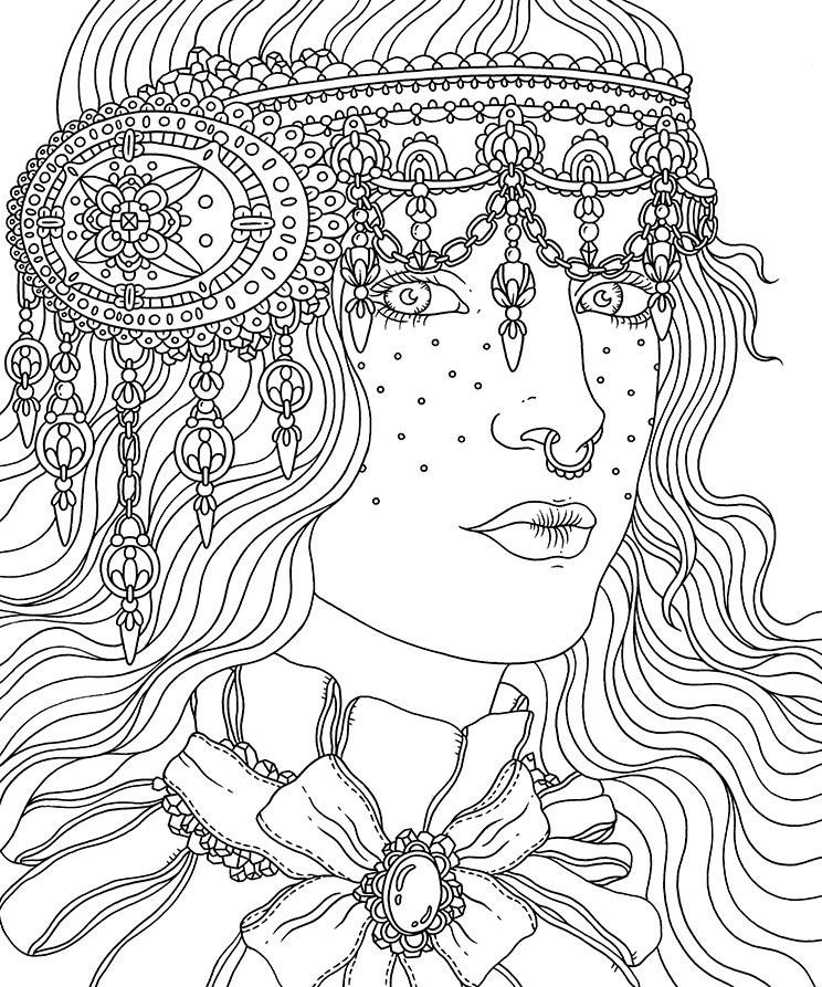 девушка с украшением из камней люди и лица раскраски