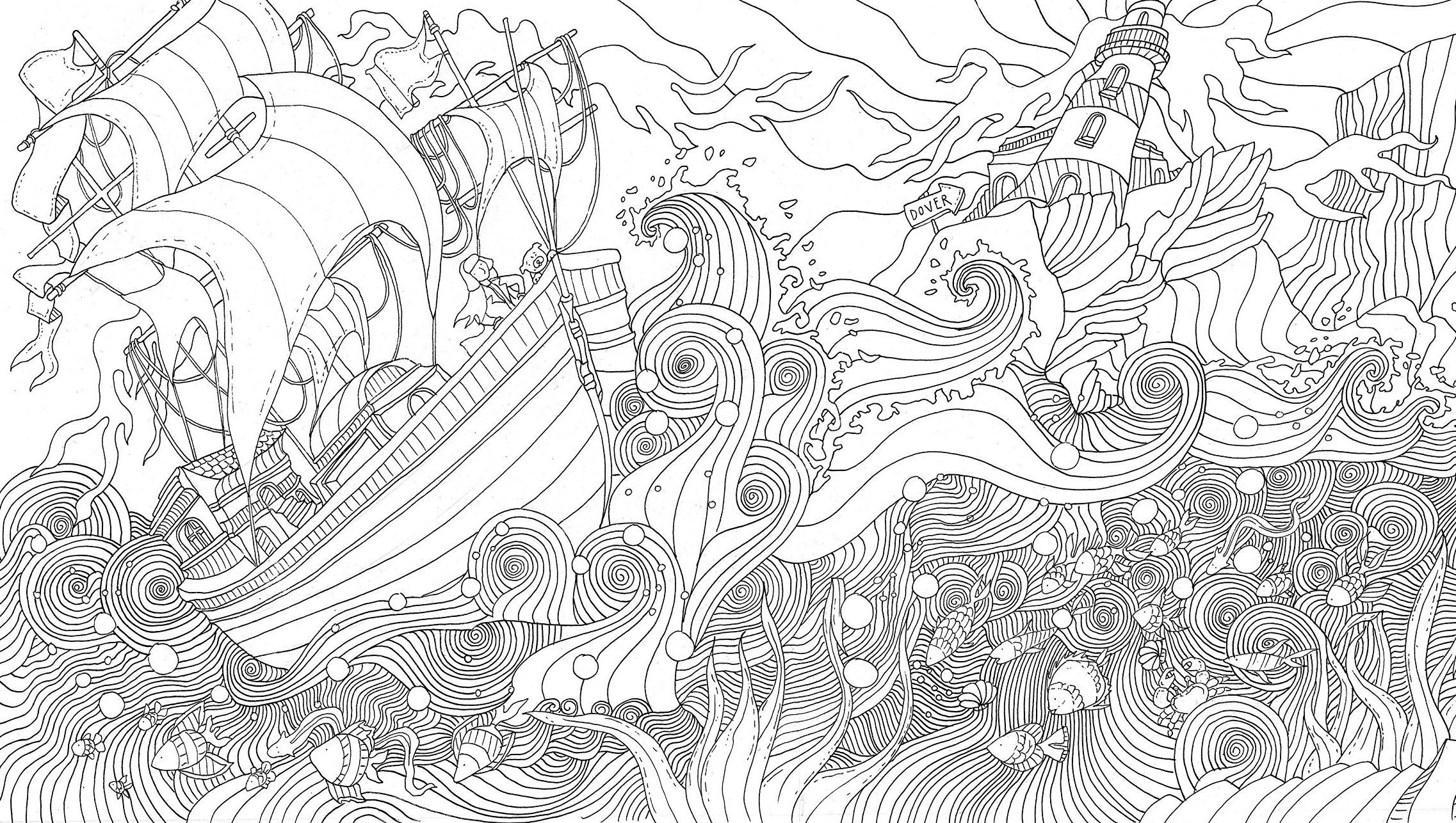 Корабль в шторм около маяка