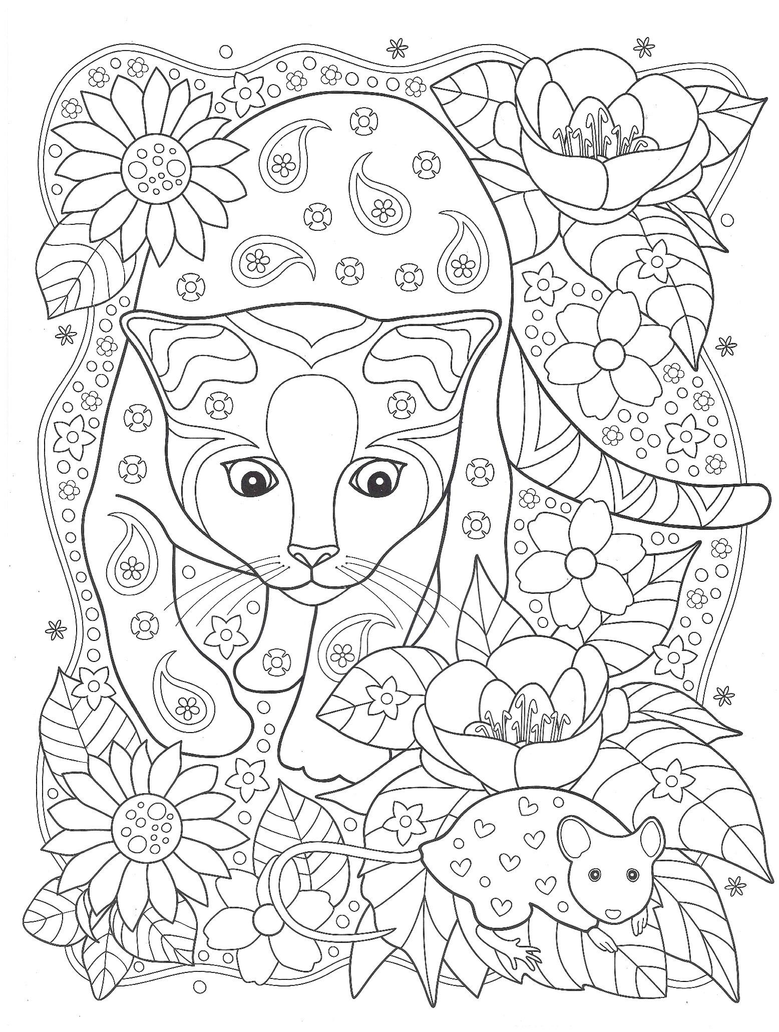 кошка и мышка животные раскраски антистресс