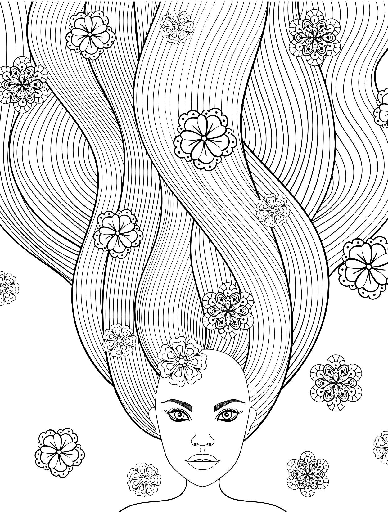 Лицо девушки с длинными волосами