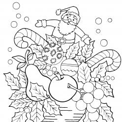 Картинки антистресс «Новогодняя композиция», чтобы распечатать и раскрасить онлайн
