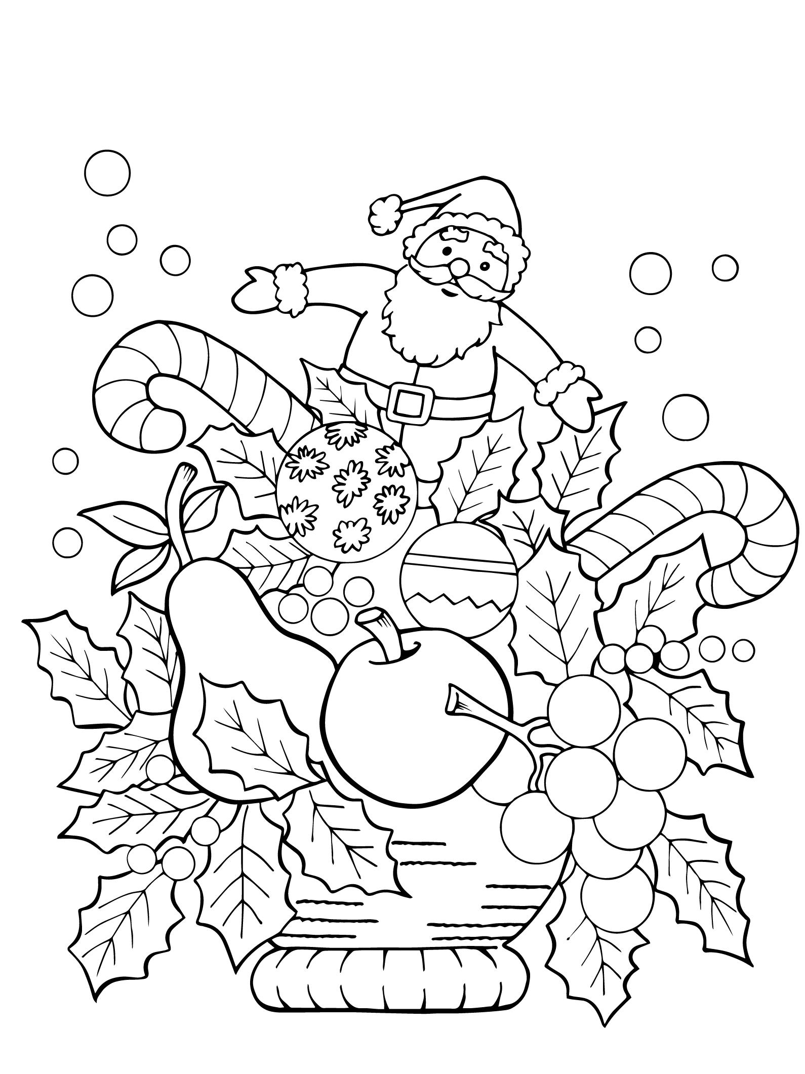 Раскраски антистресс «Новогодняя композиция», чтобы распечатать и раскрасить онлайн