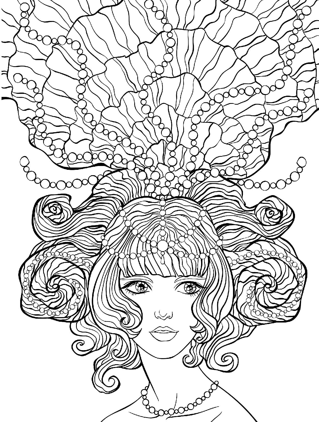 морская принцесса с жемчугом в волосах люди и лица