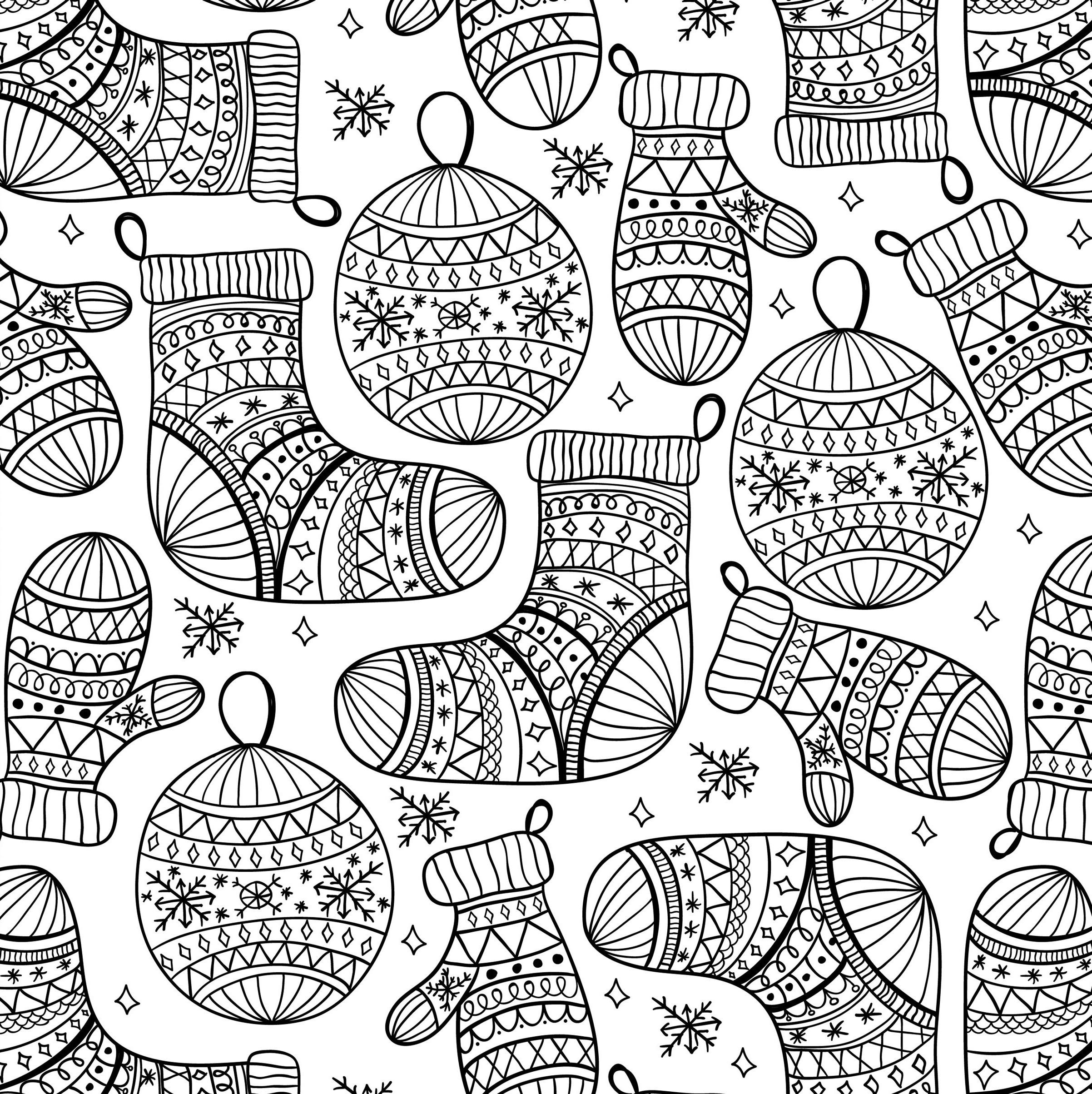 новогодние шары носки и рукавички новый год раскраски