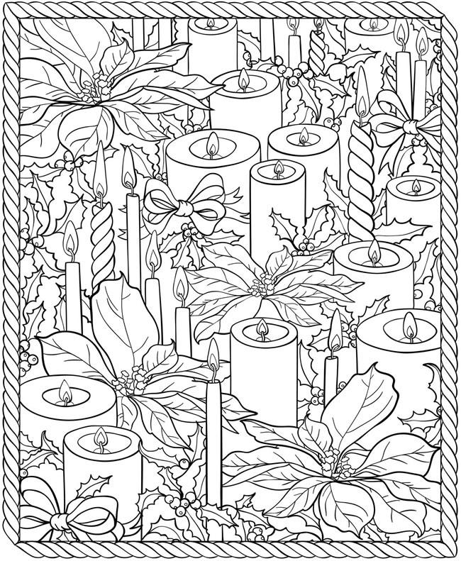 Новогодний стол - свечи и цветы