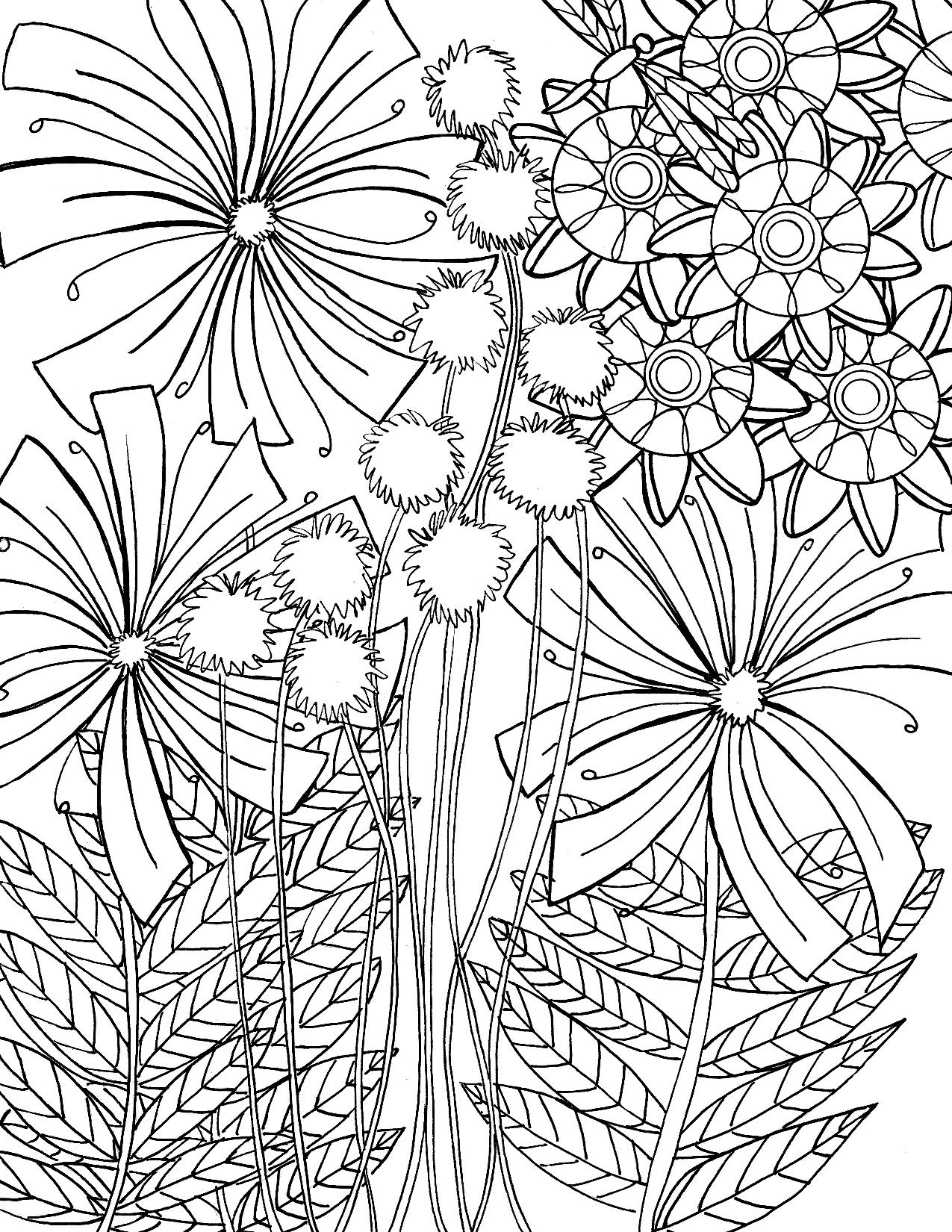 Одуванчики - Цветы - Раскраски антистресс