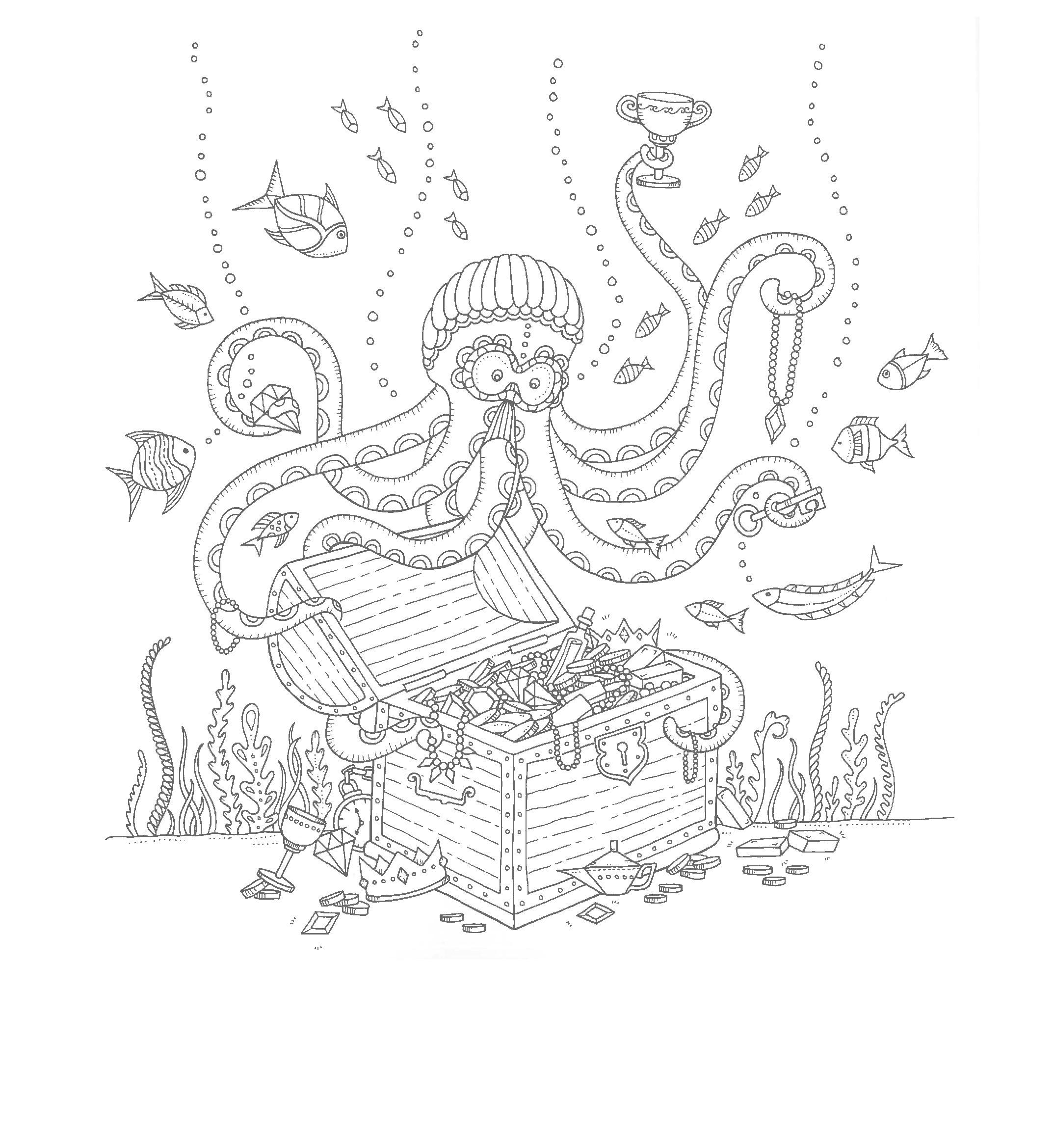 Осьминог с сундуком сокровищ