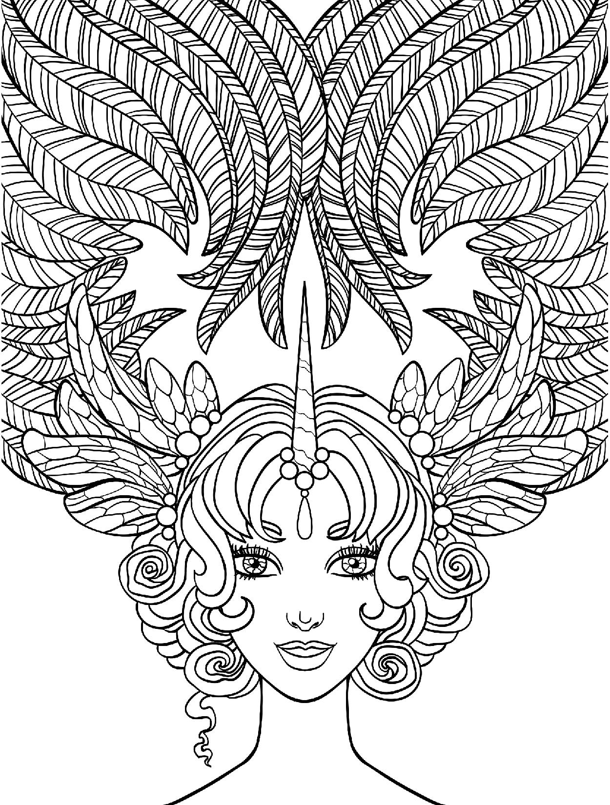 Принцесса Единорог - Люди и лица - Раскраски антистресс