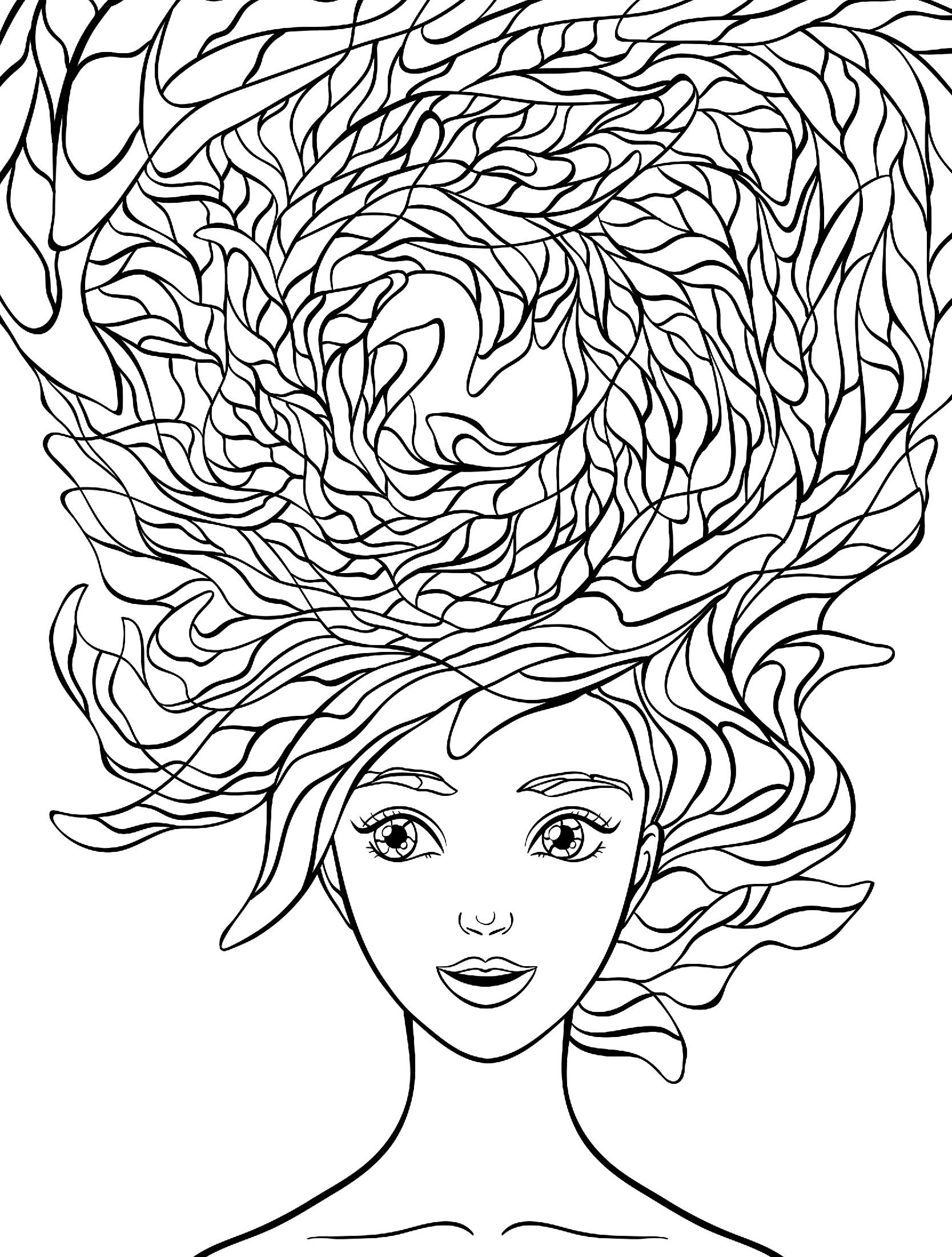 прическа прекрасные волосы люди и лица раскраски антистресс