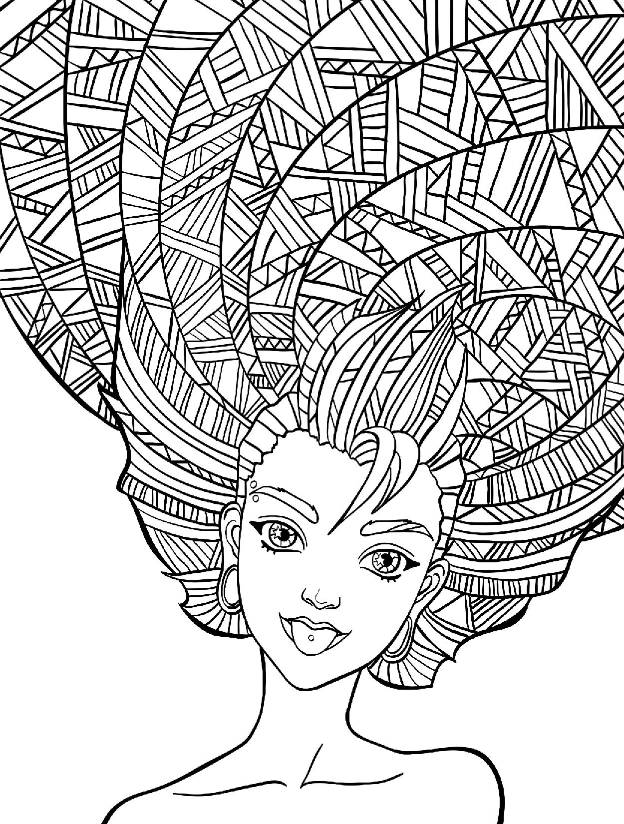 Прическа с этническими мотивами - Люди и лица - Раскраски ...