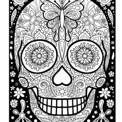 Раскраски антистресс распечатать хэллоуин Разрисованный череп