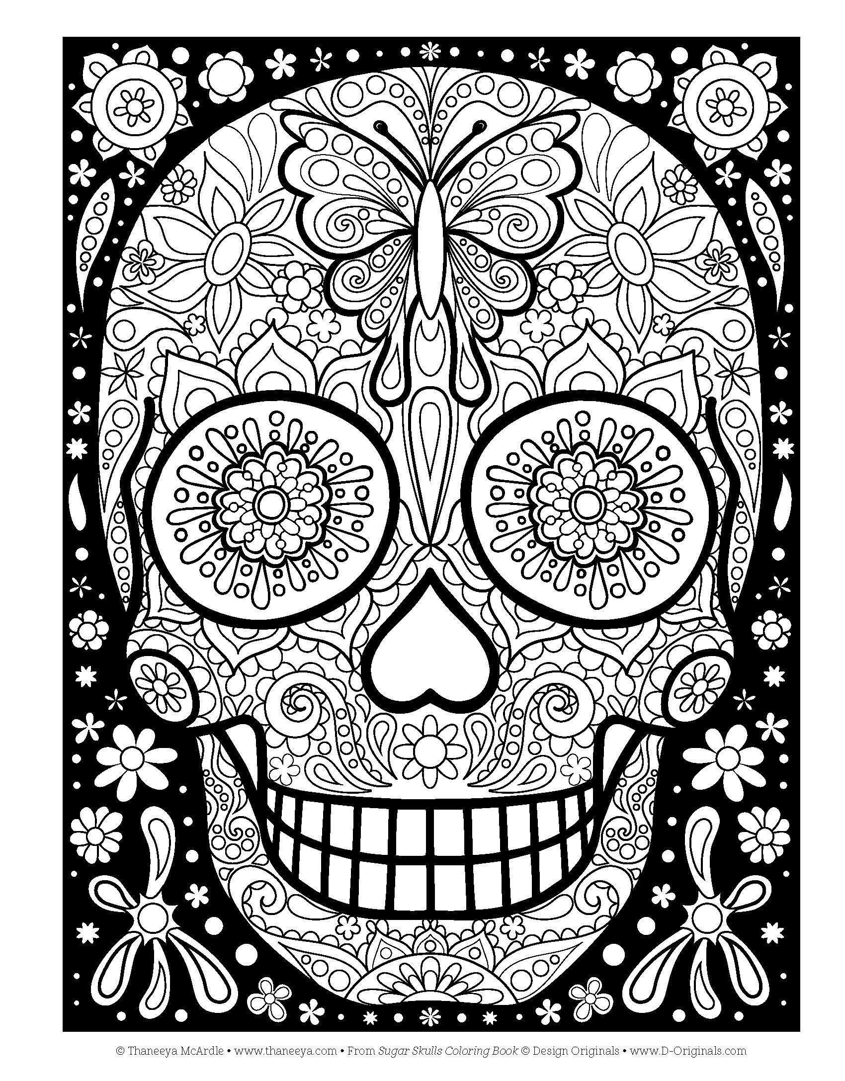 Разрисованный череп для девочек - Хэллоуин - Раскраски ...