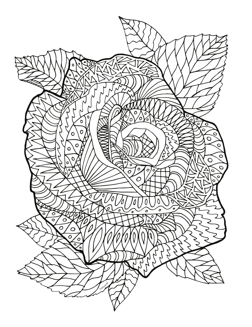 Роза - Цветы - Раскраски антистресс