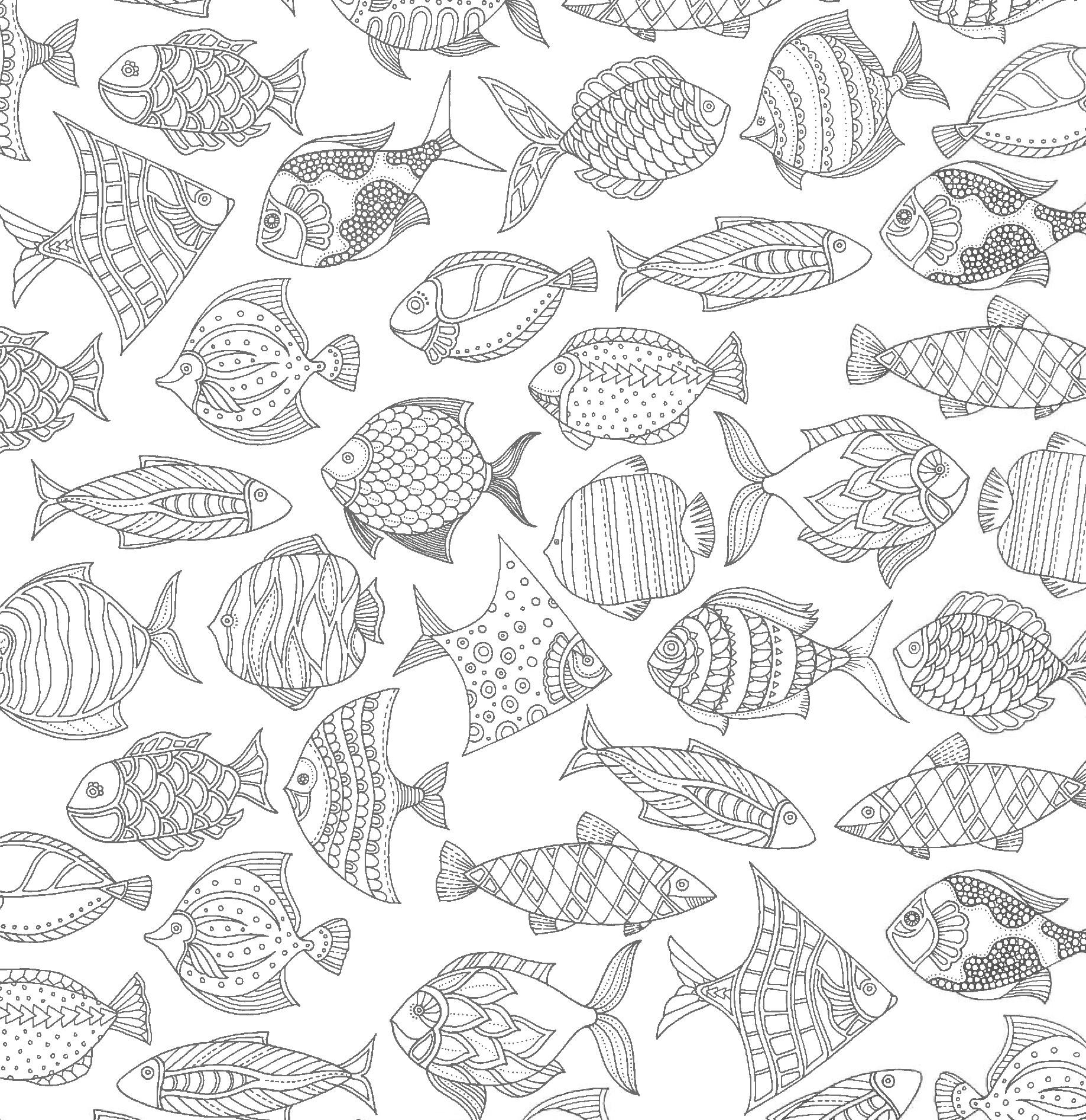 рыбы разного вида океан раскраски антистресс