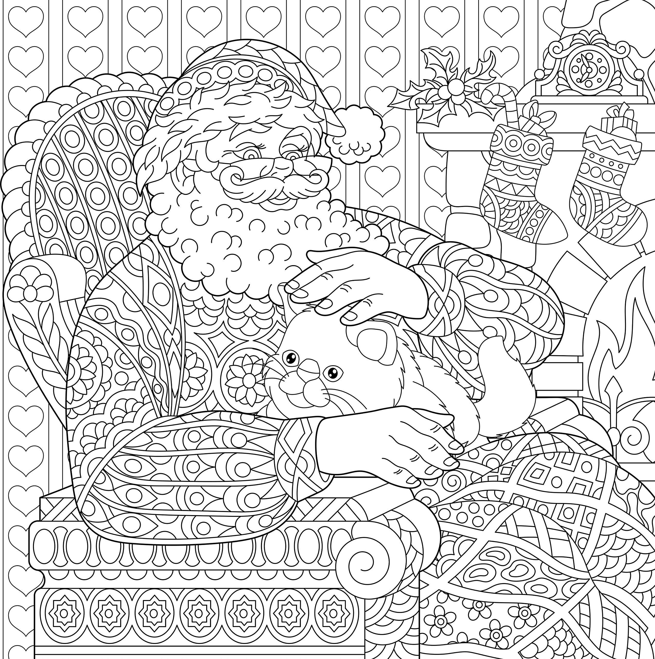 Санта Клаус у камина с котом