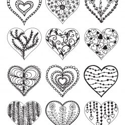 Сердца с разным рисунком