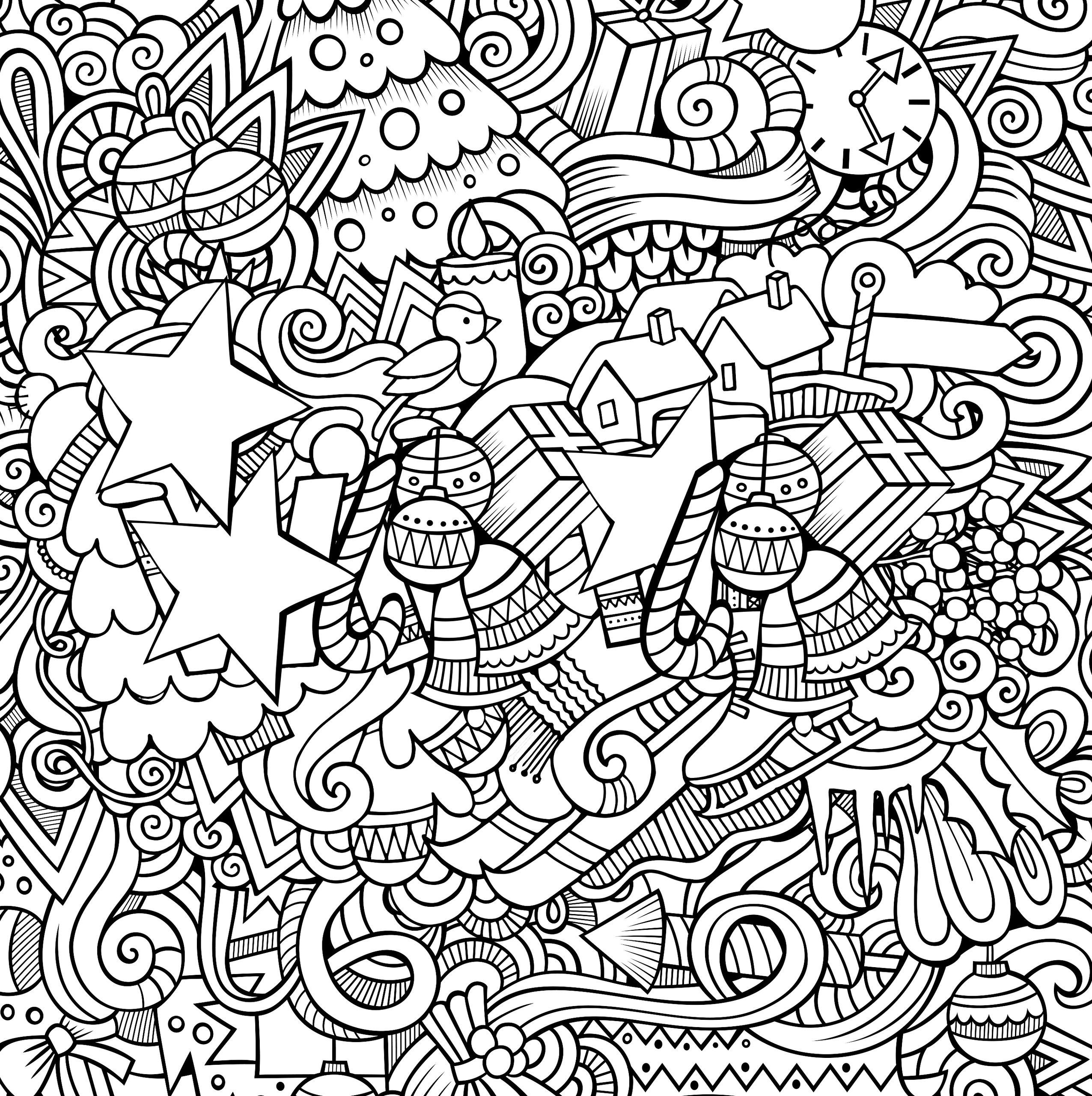 Сложная раскраска Новый год - Новый год - Раскраски антистресс