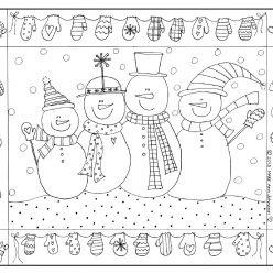 Раскраски антистресс «Снеговики», чтобы распечатать