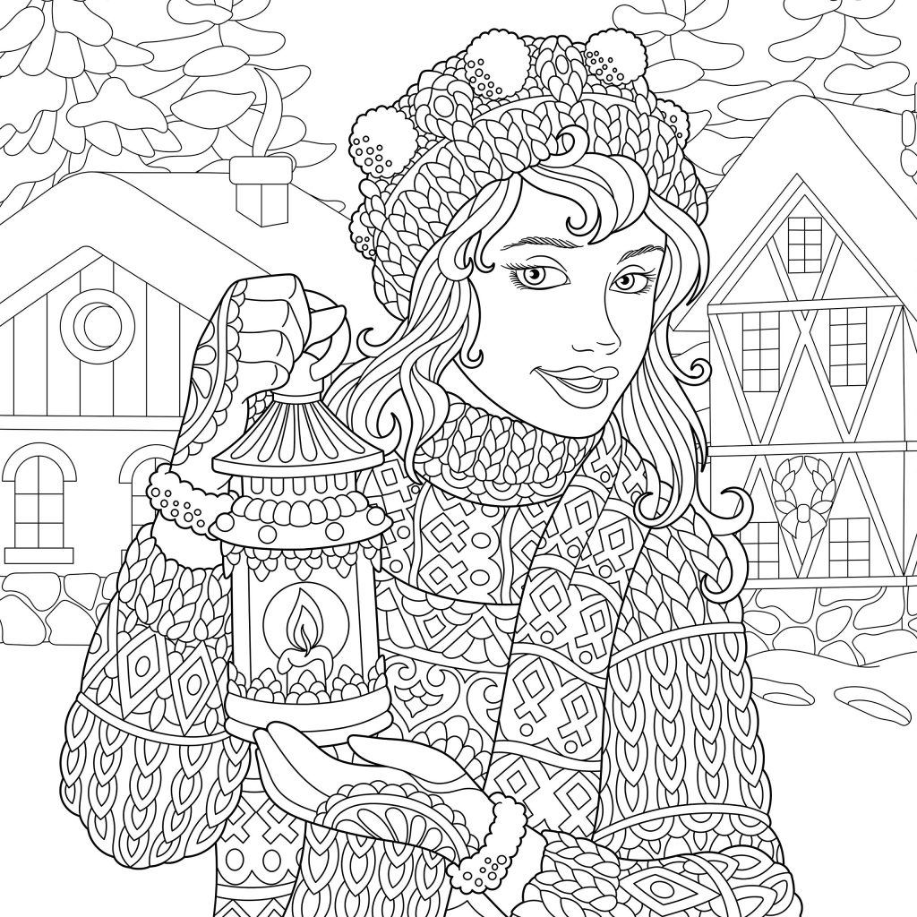 Снегурочка - Новый год - Раскраски антистресс