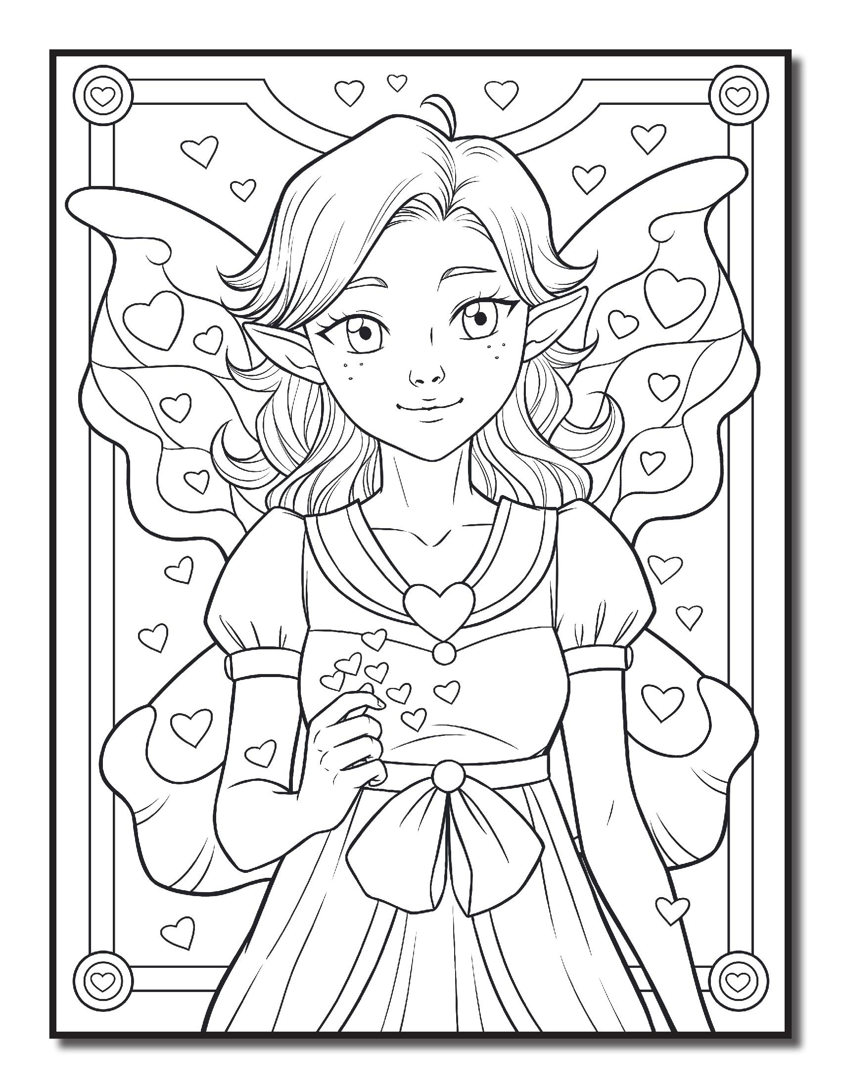 фея девочка с крыльями феи и эльфы раскраски антистресс