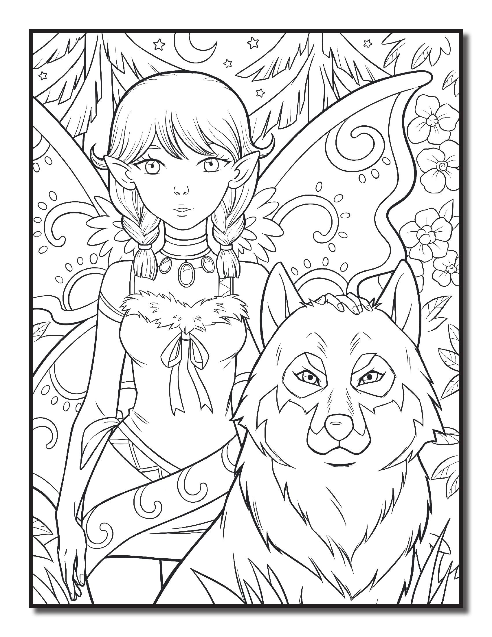 фея охотник и волк феи и эльфы раскраски антистресс