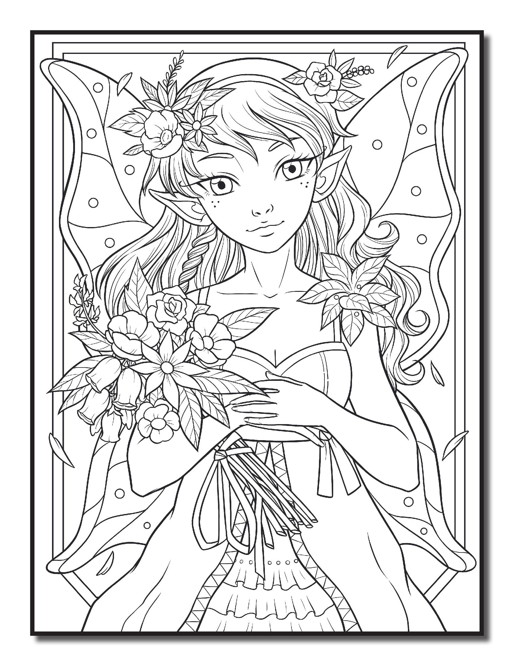 Фея с букетом цветов