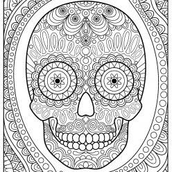 Раскраски антистресс распечатать хэллоуин Крутой череп с орнаментом