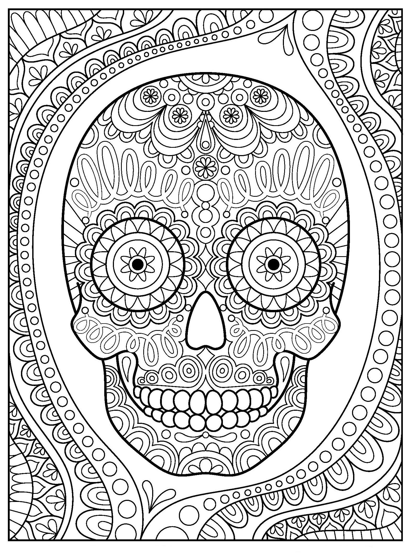 Крутой череп с орнаментом - Хэллоуин - Раскраски антистресс