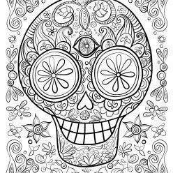 Раскраски антистресс распечатать хэллоуин Череп с узором