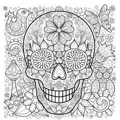 Раскраски антистресс распечатать хэллоуин Красивый череп с цветами
