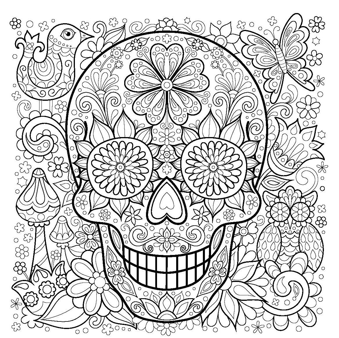 Красивый череп с цветами