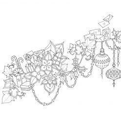 Раскраски антистресс «Новогодняя композиция», чтобы распечатать