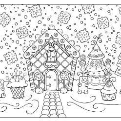 Раскраски антистресс «Новогодний пряничный дом со сладостями», чтобы распечатать