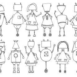 Раскраска для мальчиков Роботы разного вида, чтобы распечатать и раскрасить онлайн