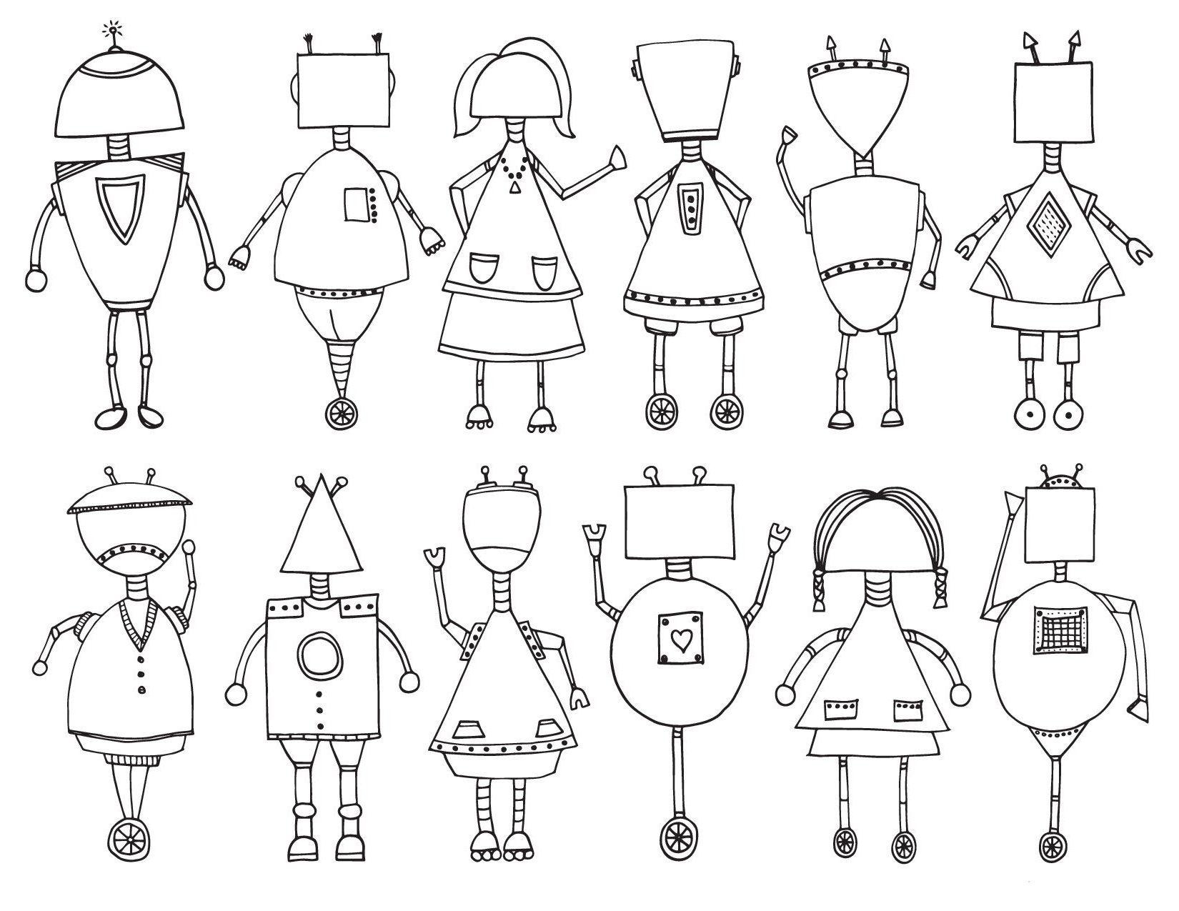 Роботы разного вида - Для мальчиков - Раскраски антистресс